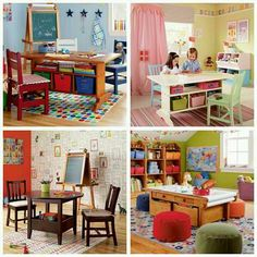 Kids Play Room Ideas.. Cute! I really adore the last picture with the Drawing Paper Roll! :-)