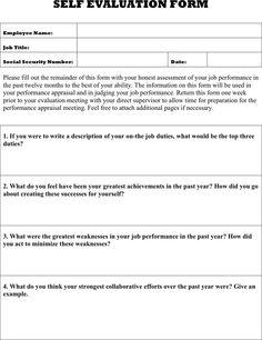 Self Evaluation Form Self Evaluation Form  Self Evaluation