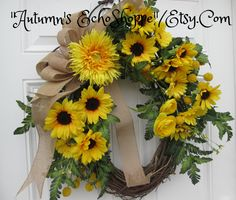 RUSTIC SUNFLOWER WREATH   - Spring Floral Door Wreath  -Spring Wreath  - Front Door Decor Wreath   -Mother's Day Gift Idea  - Easter Wreath by AutumnsEchoShoppe on Etsy