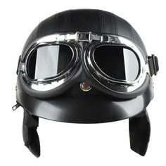 Motorcycle Half Helmet PU Leather With Eyes Googles Bicycle Retro Ope – rihonnam Half Helmets, Cycling Helmet, Open Face, Tech Support, Pu Leather, Bicycle, Motorcycle, Eyes, Retro