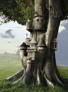 Tree Castle, The Enchanted Wood (A Fairy Castle ***) Fantasy Magic, Fantasy World, Fantasy Art, Fantasy Life, Fantasy Castle, Dark Fantasy, Fairy Land, Fairy Tales, Enchanted Wood