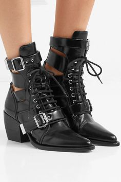 Heel measures approximately 60mm/ 2.5 inches Black leather Lace-up front, buckle-fastening strapsSmall to size. See Size & Fit notes.