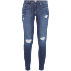 FRAME DENIM Le Skinny Jeans (€300) ❤ liked on Polyvore featuring jeans, vintage jeans, distressed jeans, destructed skinny jeans, torn jeans and patched jeans