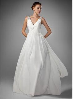 Wedding Dresses - $162.99 - A-Line/Princess V-neck Floor-Length Chiffon Wedding Dress With Ruffle Beadwork  http://www.dressfirst.com/A-Line-Princess-V-Neck-Floor-Length-Chiffon-Wedding-Dress-With-Ruffle-Beadwork-002005176-g5176