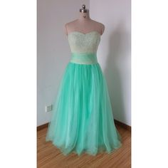 2015 Sweetheart Mint Tulle Beaded Long Prom Dress ($139) ❤ liked on Polyvore featuring dresses, grey, women's clothing, grey cocktail dress, grey prom dresses, beaded prom dresses, gray prom dresses and prom dresses