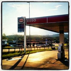 Sunset at a gas station on the border of Sweden and Norway.