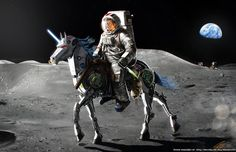 JFK riding a robot unicorn on the moon, because why not?