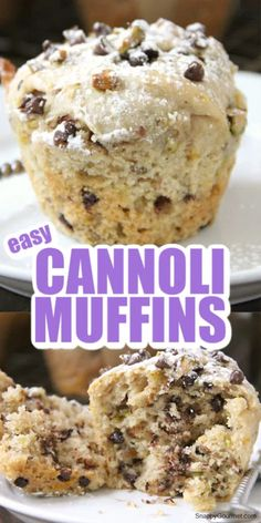 Cannoli Muffins, easy homemade Italian inspired recipe with ricotta cheese, orange, cinnamon, pistachios, vanilla, and mini chocolate chips. The best for breakfast, brunch, or even dessert! Quick and simple to make, these muffins are moist and delicious! #SnappyGourmet #Cannoli #Muffins #Italian #Brunch Homemade Chocolate Chip Muffins, Chocolate Chip Banana Bread, Chocolate Recipes, Chocolate Chips, Baking Chocolate, Chocolate Truffles, Fun Easy Recipes, Best Dessert Recipes, Breakfast Recipes
