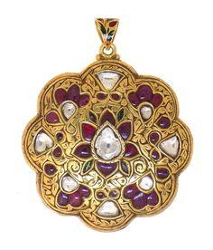Jadau - Polki Necklaces - Jindels Gem and Jewellery Pictures India Jewelry, Tribal Jewelry, Traditional Indian Jewellery, Stone Work, Jaipur, Anklets, Enamel, Jewelry Design, Gems
