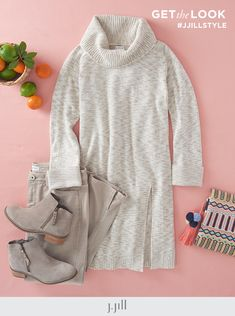 A cozy cowl neck and the longer length you love—make this sweater yours. Shop now. Everyday Casual Outfits, Ankle Length Leggings, Knit Boots, Cowl Neck Top, Cable Sweater, Knitted Poncho, Square Scarf, Cozy, Pure Products