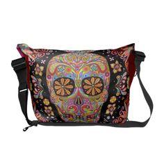 want!!!!!!!!!!!! Colorful Sugar Skull Art Messenger Bag