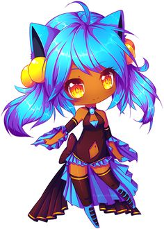 "Chibi-chibi commission for Nyaaaann o I loooove blue haiiir~~ she's is a pretty cute character *u* woaahh I loved her! C: And I hope you like it too! - I don't know how much ""sharp"" is it, is annoy..."