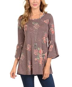 Loving this Burgundy Floral Three-Quarter Bell-Sleeve Top - Women on #zulily! #zulilyfinds