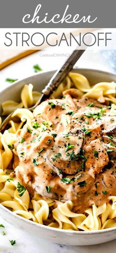 Stroganoff is my family's favorite weeknight meal! Its made budget friendly with juicy chicken in a rich and creamy, amazingly flavorful sauce (without any cream soup)! via Stroganoff is my family's favorite weeknight meal! Pollo Stroganoff, Stroganoff Recipe, Pasta Dishes, Food Dishes, Main Dishes, Side Dishes, Easy Dinner Recipes, Easy Meals, Carlsbad Cravings
