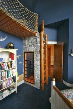 125 großartige Ideen zur Kinderzimmergestaltung - kinderzimmer gestalten in blau bücherregal ziegelwand