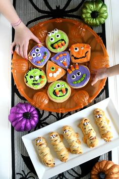 These Wacky Monster Cookies and won't last long at your They are always a hit. (Bonus: they are fun to make. Halloween Crafts For Kids, Holidays Halloween, Halloween Party, Mummy Dogs, Halloween Celebration, Party Activities, Pillsbury, Treat Yourself, Food Inspiration