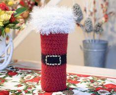Felted Santa Wine Bottle Tote Crochet Pattern   www.petalstopicots.com   #crochet