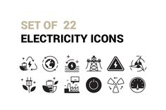 nice Set of 22 Electricity Icons  #clean #creative #CYCLE #ecology #ELECTRICITY #energy #environment #flat #green #icon #industry #internet #line #logo #NUCLEAR #plant #POWER #RESOURCES #SCIENCE #set #sign #SOLAR #station #symbol #water #web #wind Check more at https://creativemarket.link/set-22-electricity-icons/