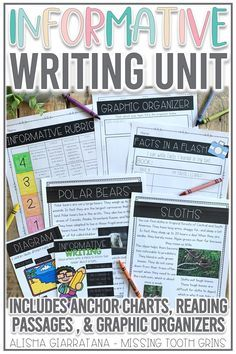 This informative writing unit, complete with anchor charts, graphic organizers, and other activities, will help you teach the writing and research process! Perfect for first and grade students. Click the pin to see all the activities included. Informational Writing, Informative Writing, Guided Reading Level Chart, Writing Process, Teaching Writing, Reading Activities, Graphic Organizers, Anchor Charts, Rubrics