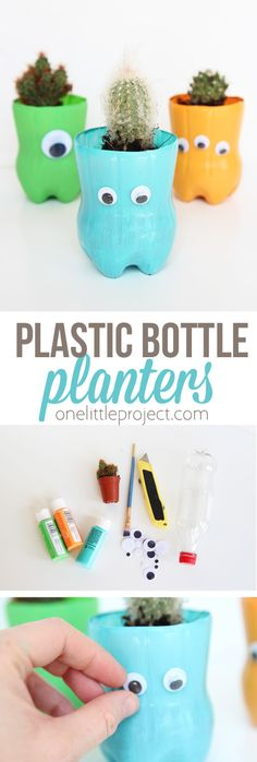 These plastic bottle planters are seriously SO CUTE and only require a handful of materials. They are perfect for a cactus or succulent!