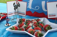 Captain America Strawberries at an Avengers Party #avengers #partyfood