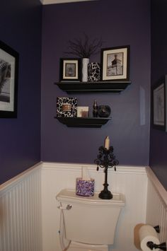 Eggplant Bathroom - Bathroom Designs - Decorating Ideas - HGTV  A little too dark (I think) for a small bathroom. But I really love the half painted idea- half white, half purple walls