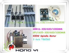 A full set of CNC, SFU1605 ball screw +SBR16 Linear Guides+spindle motor 300W +power +MACH 3 + NEMA 23 + 3 Axis or 4 Axis TB6560 //Price: $352.82//     #shopping
