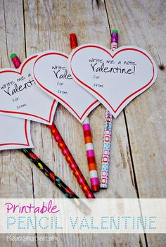 Printable Pencil Valentine at thebensonstreet.com. Perfect to give out in classes or to friends. #diyvalentines #valentine #printable