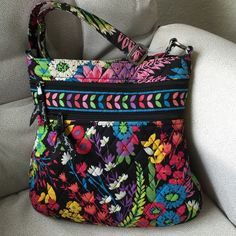 """Vera Bradley Triple Zip Hipster Cross-Body Bag Vera Bradley Triple Zip Hipster Cross-Body Bag- Field Flower. Gently used, small worn spot on the side slip pocket. Approximately 11.75 H x 11.5 L x 1.75 D""""; with adjustable strap. Vera Bradley Bags Crossbody Bags"""