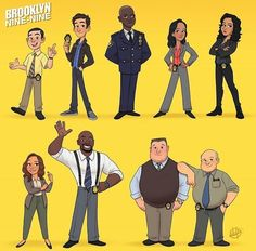 "And thanks to Luigi Lucarelli, a Los Angeles character designer, we now know what the cast would look like if they were illustrated drawings! An Artist Illustrated The ""Brooklyn Nine-Nine"" Characters And They're So Cool Brooklyn Nine Nine Funny, Brooklyn 9 9, Series Movies, Tv Series, Luigi, Hunger Games, Jake Peralta, Andy Samberg, Fandoms"