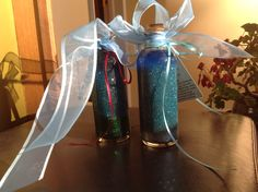 Glitter jars. Recipe on YouTube arttherapyyork.   These are easy and beautiful!