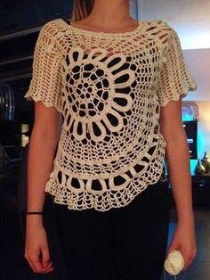 Spaanse trui haken super leuk met patroon Filet Crochet, Crochet Top, Fasion, Vest, Diy, Tops, Dresses, Women, Crochet Stitches
