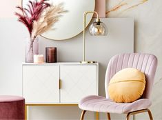 Love the addition of the lilac velvet occasional chair to the timeless look. Oh and the gold cushion. Lilac Bedroom, Velvet Bedroom, Bedroom Chair, Bedroom Decor, Kids Bedroom, Bedroom Ideas, Hallway Table Decor, Kmart Home, Australia Living