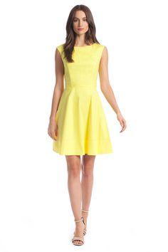 Lemon Drop Cotton Stretch Poplin Juliette Dress