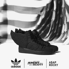 ASAP Rocky & Jeremy Scott Launch adidas Originals 'Black Flag' Collaboration in NY Jeremy Scott Wings, Jeremy Scott Adidas, Adidas Originals, Asap Rocky, Adidas Superstar, Girls Sneakers, All Black Sneakers, Zara Sneakers, Adidas Tumblr Wallpaper