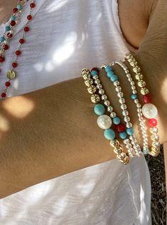 Gold beads bracelet. Gemstone stretch bracelet