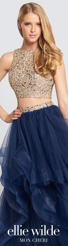 Prom Dresses 2017 - Ellie Wilde for Mon Cheri - Two-Piece Navy Blue and Gold Metallic Lace Cropped Top and Tulle Skirt Prom Dress - Style No. EW117156