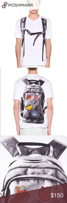 Love Moschino T-shirt Men's White Backpack Printed Cotton Jersey T-shirt  PRODUCT DETAILS T-shirt by Love Moschino jersey Crew neck printed front and back.  Regular fit Machine wash 100% Cotton Moschino Shirts Tees - Short Sleeve