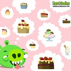 Bad piggie loves cake.