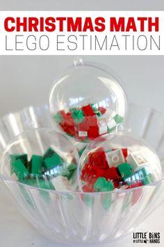 Christmas Math LEGO Estimation Plastic Ornaments Geometry Activities, Math Activities For Kids, Christmas Activities For Kids, Fun Math, Snow Activities, Teaching Resources, Maths 3e, Christmas Math, Christmas Ideas