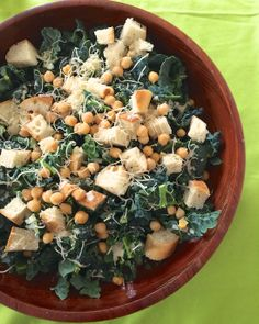 Kale Caesar Salad ~ Make your own croutons for a gluten-free version.