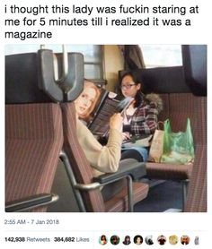 I thought this lady was staring at me for 5 minutes until i realized it was a magazine funny humor funny memes funny images funny quotes and sayings daily funny quotes Crazy Funny Memes, Really Funny Memes, Stupid Funny Memes, Funny Relatable Memes, Haha Funny, Hilarious, Funny Stuff, Memes Humor, Meme Meme