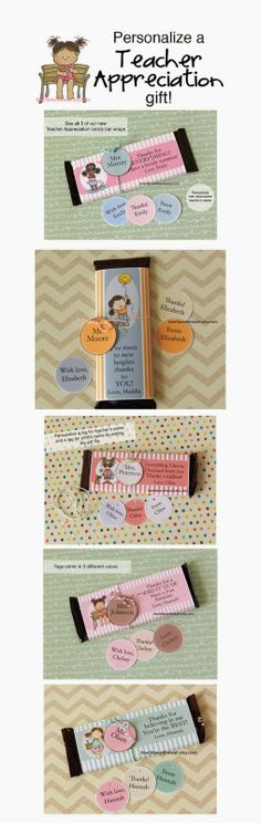 It's Written on the Wall: Give a Unique Gift for Teacher Appreciation-Personalized Candy Bar Wraps