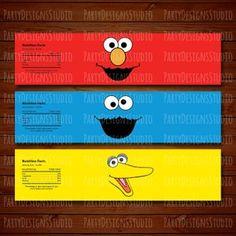 1459551007 del 10 may 2019 Sesame Street Birthday, Shipping Supplies, Water Bottle Labels, Big Bird, Label Design, Pinterest Marketing, First Birthdays, Handmade Items, Etsy