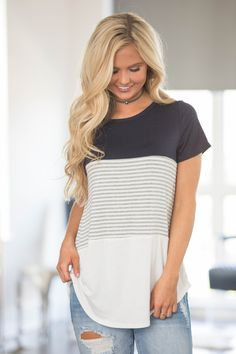Spring Forward Striped Blouse Navy - The Pink Lily