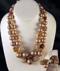 Vogue Swirled Art Glass Ice Cube Beads Faux Pearl Necklace Earrings