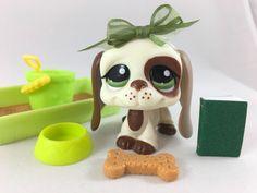 Littlest Pet Shop RARE Cream & Brown Bassett Hound #1594 w/Accessories #Hasbro