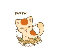 "Chibi Neko Italy by x3VampirePwnzx.deviantart.com on @deviantART - First in a series showing Nekotalia characters with their favourite foods: Neko!Italy with pasta. I'm not sure if kitties would actually like pasta, but hey, it's fantasy AND the matchups are based on their ""human"" counterparts, so whatever."