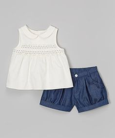 Another great find on #zulily! White Smocked Top & Navy Denim Shorts - Infant, Toddler & Girls by La Fleur & Le Papillon #zulilyfinds