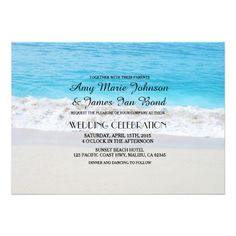 Ocean sand heart beach wedding invitations beach1